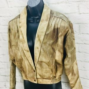 Vintage F & L Gypsy Leather Bomber Jacket Womens D